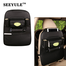 hot deal buy 1pc seeyule top level pu leather car seat back storage bag organizer stowing tidying buggy for tissue umbrella drink phone pad
