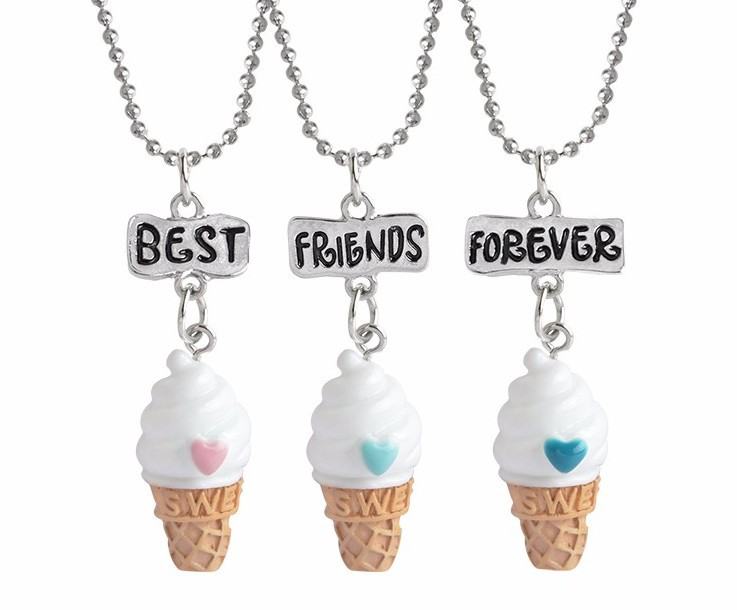 Skeins BFF Jewelry 3pcs Set Best Friend Forever Charm Pendants Choker Love Ice Cream Kids Necklace Collares Grandes De Moda 2017