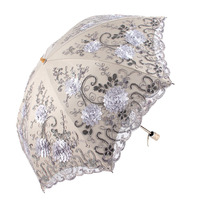 New Design Lace Umbrella Rain Women Folding Sun Umbrella Non Slip Handle Windproof Umbrella Two Folding