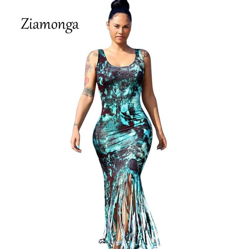 1b53f6b4b3 Ziamonga Hot Selling Summer Casual Beach Dresses Sleeveless Tank Top Tassel  Long Women Maxi Dress Vestidos Bohemian Summer Dress-in Dresses from Women's  ...