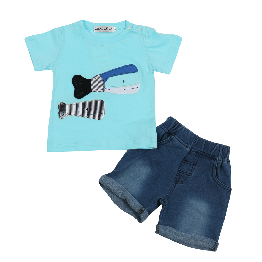 2017-Summer-Style-Infant-Clothes-Baby-Clothing-Sets-two-small-fish-model-Cotton-Short-Sleeve-Tshirt-jeans-2pcs-Baby-Boy-Clothes-2