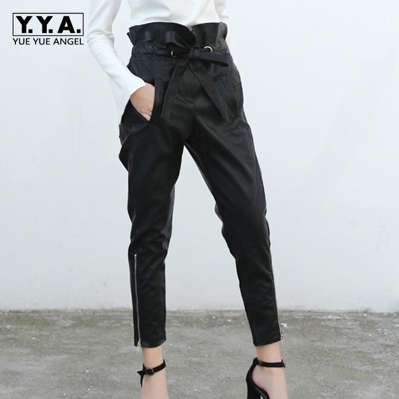 2019 New Casual Women Ankle Length Pu Leather Harem Pants Joggers Bow Lace Up Ruffles High Waist Pants Zipper Trousers Female