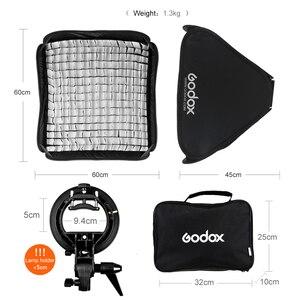 Image 3 - Godox Pro Verstelbare 60 cm x 60 cm Flash Soft Box Honeycomb Grid Kit met S Type Beugel Bowen mount Houder voor Speedlite Flash
