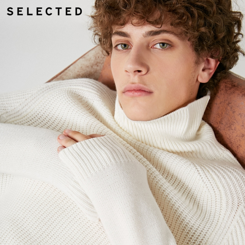 Image 5 - SELECTED High Neck Multiple Colors Knitted Pullovers Men's Wool blend Sweater  418425533-in Pullovers from Men's Clothing