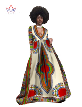 Autumn Women Deep V-neck Sexy Long Dress Plus Size 6xl Traditional African Clothing Maxi Dress Vestidos Office Party Dress WY349
