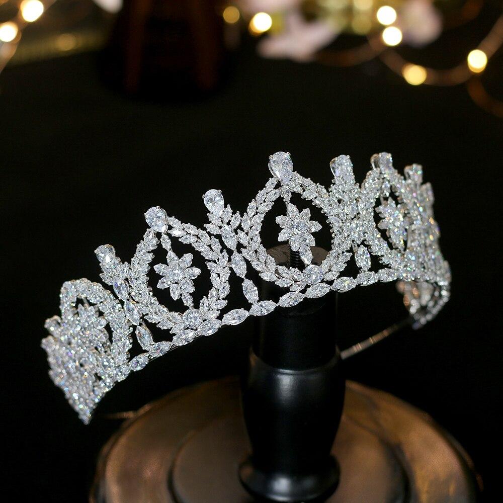 Europa ronda zirconia corona novia boda boda vestido de novia accesorios corona banquete accesorios para el cabello-in Hair Jewelry from Jewelry & Accessories    3