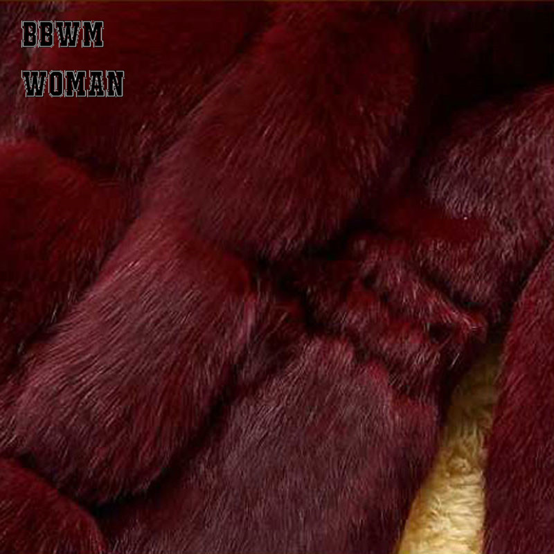 Cheveux Veste Manteau Imitation Lapin Dame De Gamme noir bourgogne Col Outwear Hiver Mode Automne Haut Fourrure Long Blanc Zo957 614q8wxX