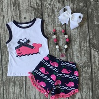 Baby Girls Summer Clothes Girls Whale Outfits Baby Girls Hot Pink Whale Shorts Cute Whale Print
