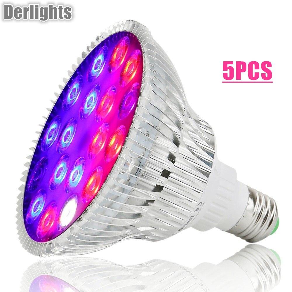 5 pz/lotto 54 w Spettro Completo LED Coltiva La Luce UV IR AC85 ~ 265 v Lampada Crescita Delle E27 per Interni coltura idroponica Fiore Veg Serra Commercio All'ingrosso