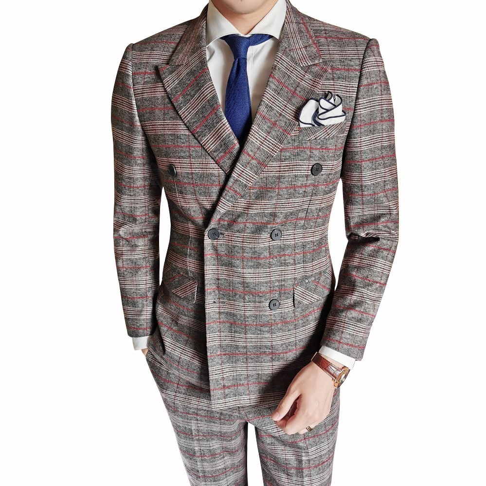 2019 Autumn Groom Tuxedos Grid 3pc Suit Men British Style Latest Coat Pant Designs Wedding Suits For Men Slim Fit Suits Men