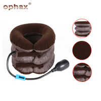 OPHAX 3 Layer Inflatable Air Cervical Neck Tractor Back Traction Device For Pain Relief Neck Head Stretcher Pillow Pain Release