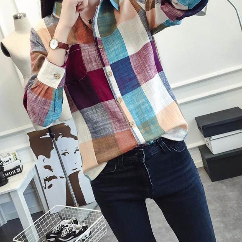 2019 Spring Fashion Women Casual Loose Cotton Plus Size Multicolor Lattice   Shirt   Lady Long Sleeve Party Wear   Blouses   Crops Top