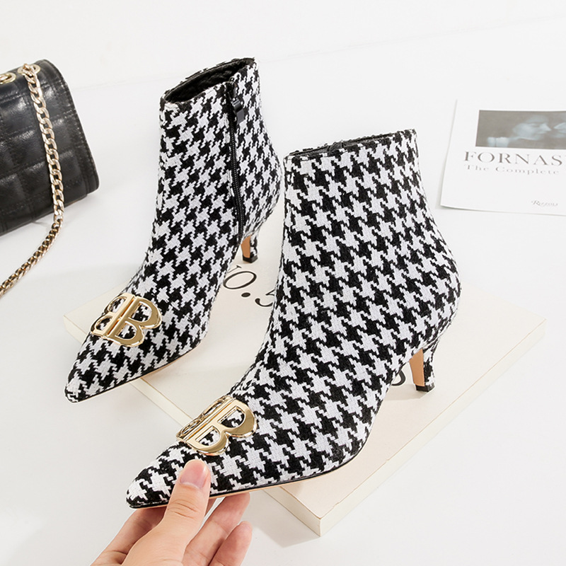 fb69ddfb34a6 Hot New 2018 Autumn Medium Kitten Heels Ankle Boots for Women Pointed Toe  Sexy Plaid Short Boots Ladies Shoes with Heel