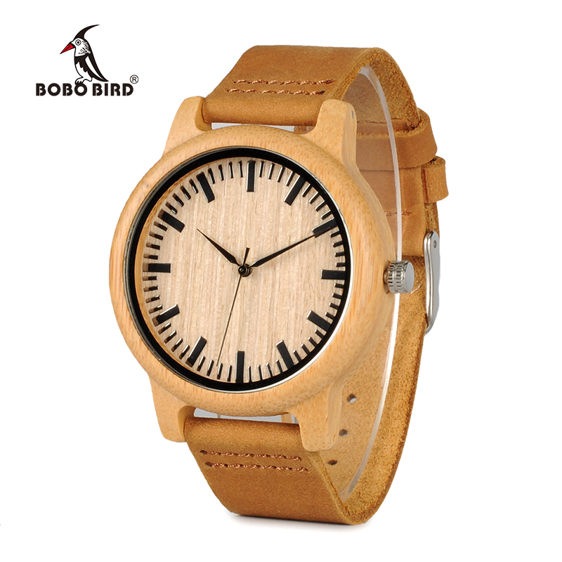 BOBO BIRD WA16 Watch for Men Women Bamboo Wood Quartz Watches With Scale Soft Leather Straps bobo bird bamboo wood quartz watch men women japanese majoy movement soft silicone strap casual ladies watch wristwatch for gift