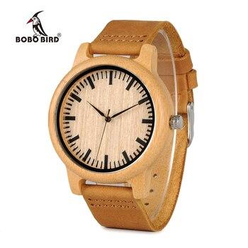 Бамбуковые наручные часы с кожаным ремешком унисекс BOBO BIRD