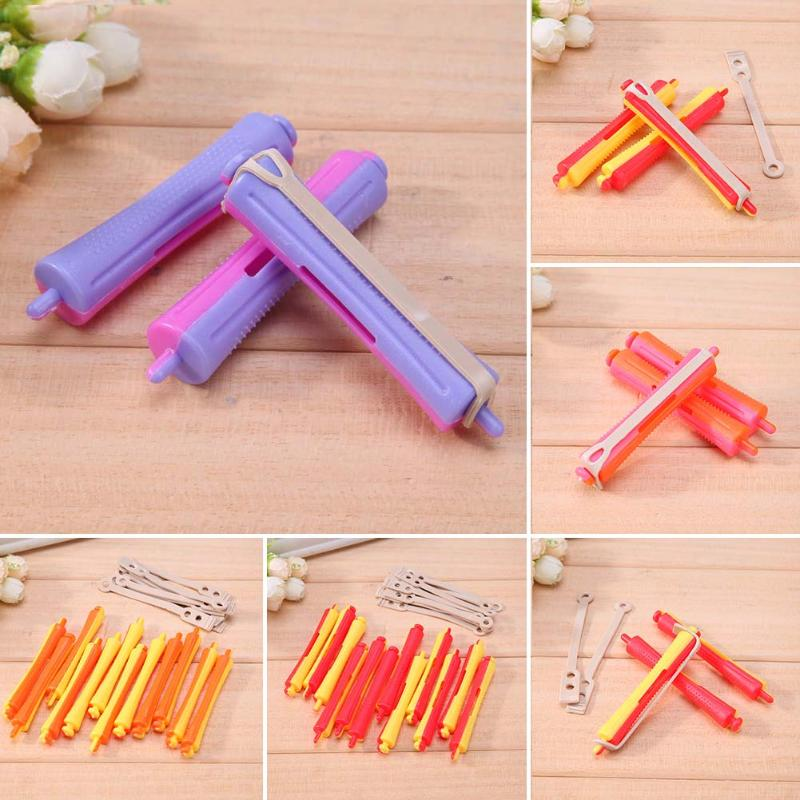 6Pcs/12Pcs/Set DIY Perm Rod Salon Hair Roller Rubber Band Hair Clip Curling Curler Hairdressing Maker Styling Hair Tool Dropship