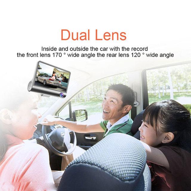Podofo 4″Car DVR Three-way Car Camera FHD 1080P Registrator 170 Wide Angle Dash Cam Video Recorder Night Vision G-Sensor Dashcam