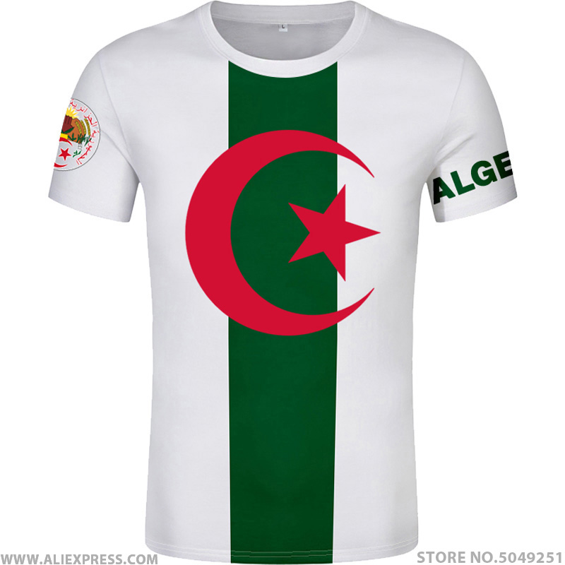 ALGERIA   t     shirt   free custom made name number dza   t  -  shirt   islam diy arabic algerie arab print text word black flag photo clothing