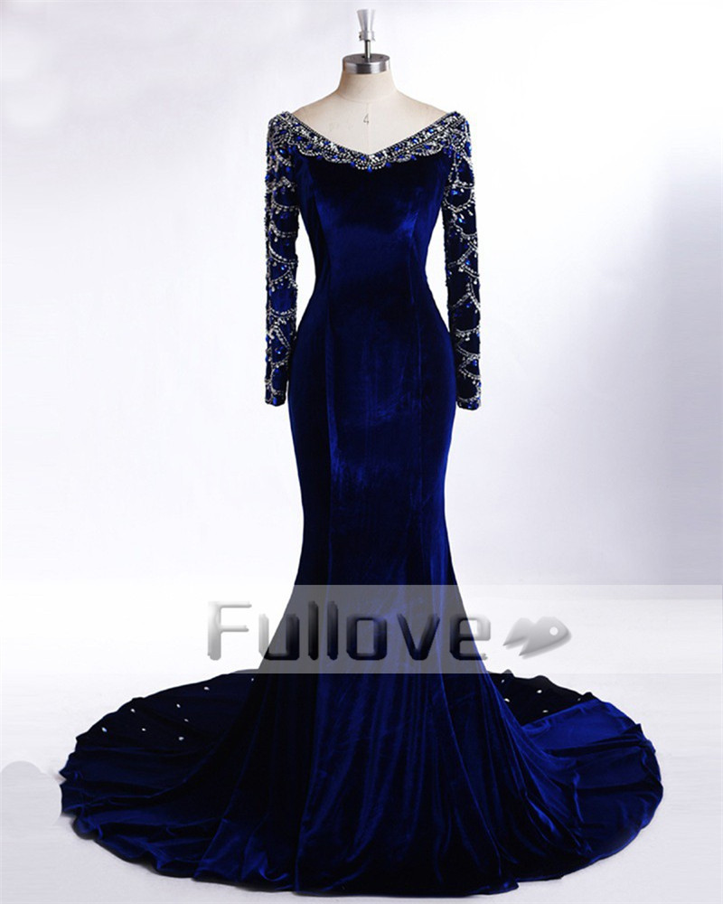 Elegant Royal Blue Velour Long Sleeve Evening Dresses 2019 Rhinestone Beaded Appliques Mermaid Formal Dress Vestido