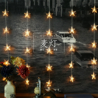 2M 60 LEDS Stars Christmas Garlands LED String Christmas Net Lights Fairy Xmas Party Garden Wedding Decoration Curtain Lights
