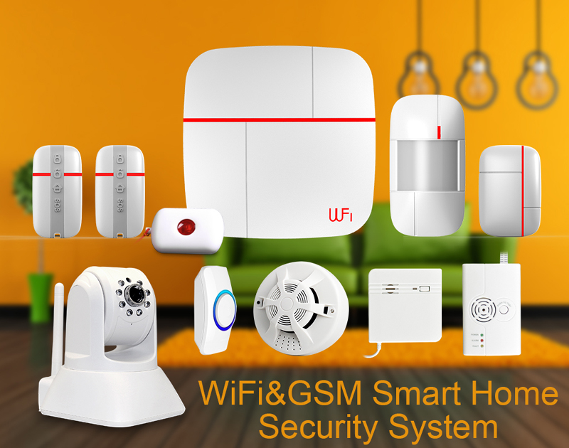 Wireless Home Security Burglar Alarm System Kits WIFI GSM Dual-network GPRS Android IOS APP 433Mhz Sensor Remote Control ios android app remote control smart power socket wireless burglar alarm security system gsm gprs wifi alarm system g90b