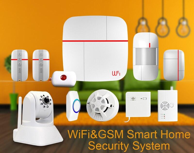 Wireless Home Security Burglar Alarm System Kits WIFI GSM Dual network GPRS Android IOS APP 433Mhz Sensor Remote Control