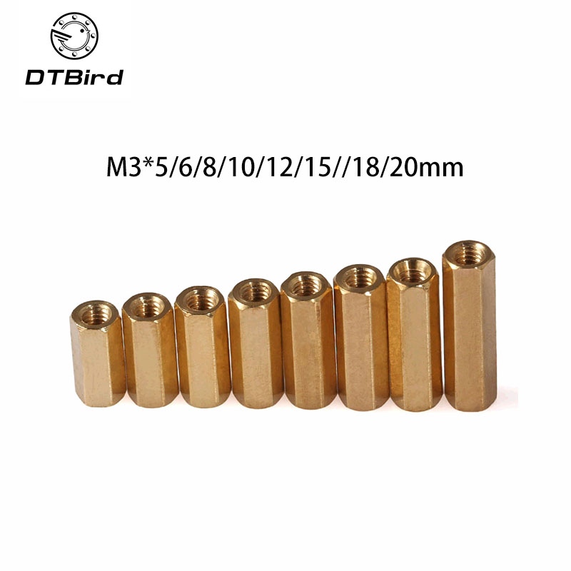 20pcs NL24 <font><b>M3</b></font>*5/6/8/10/12/15//18/<font><b>20mm</b></font> Hex Screw <font><b>M3</b></font> Female Hexagonal Brass PCB <font><b>Standoffs</b></font> Spacers Screw Hollow Copper Column image