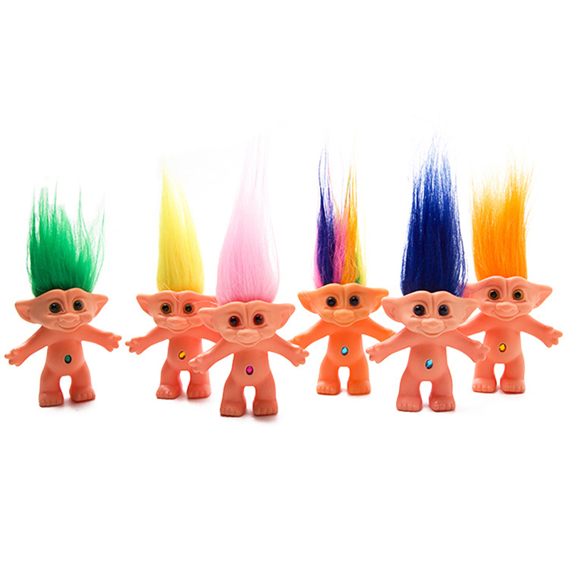 Silicone Ugly Doll Vintage Troll Doll After 80s Nostalgic Doll 10cm Colorful Hair Magic Elf Toys for Children