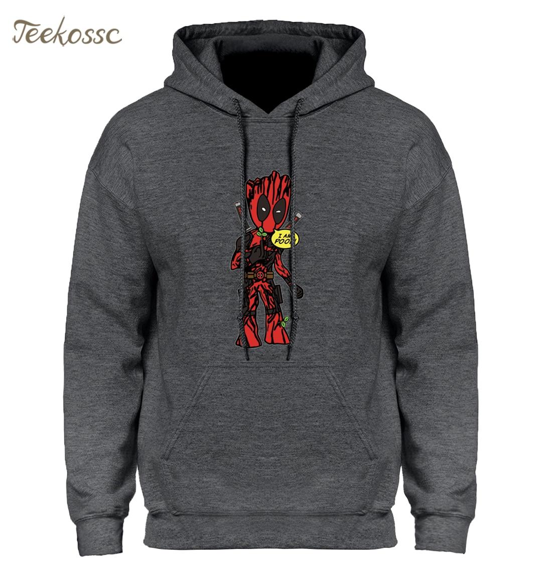 I AM GROOT Hoodie Men Deadpool Hoodies Anime Baby Pop Groot Hooded Sweatshirt Winter Autumn Super Hero Funny Print Hoody Homme