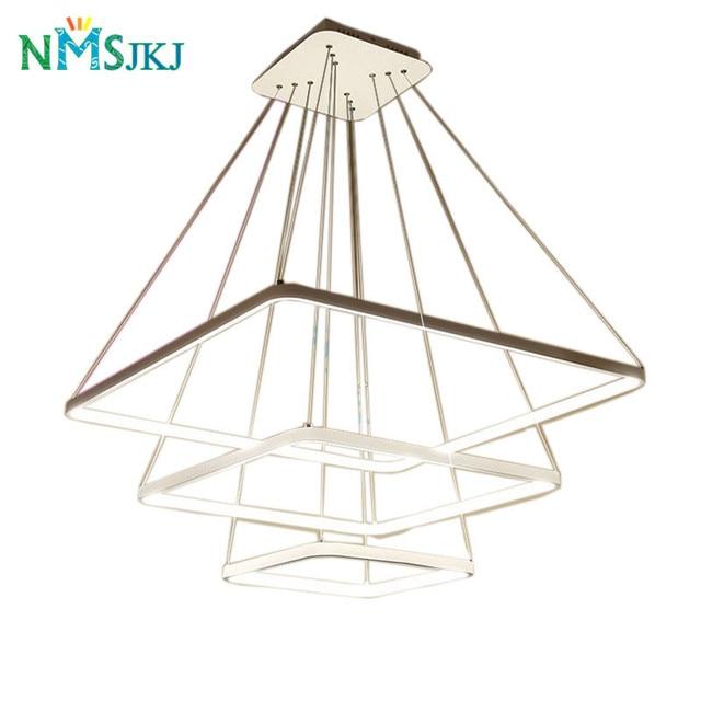 Modern LED Simple Pendant Lights Lamp For Living Room 3 2 1 Square Rings