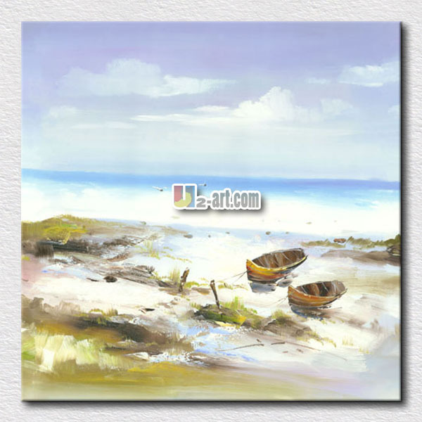 Beach and sea with a line oil paint seascape canvas prints painting for home decoration /24'x24'