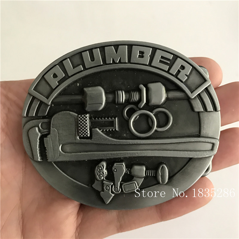 Black night Retail New Cool 3D Plumber Silver Tools Cowboy Belt Buckles With Oval Metal Mans Womans Jeans accessories For 4cm Wide Belt