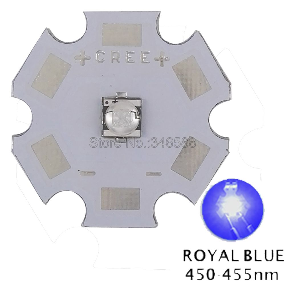 10pcs/lot! <font><b>Cree</b></font> XLamp XT-E XTE <font><b>5W</b></font> Royal Blue 450NM - 452NM High Power <font><b>LED</b></font> Emitter Diode on 8mm / 12mm / 14mm / 16mm / 20mm PCB image