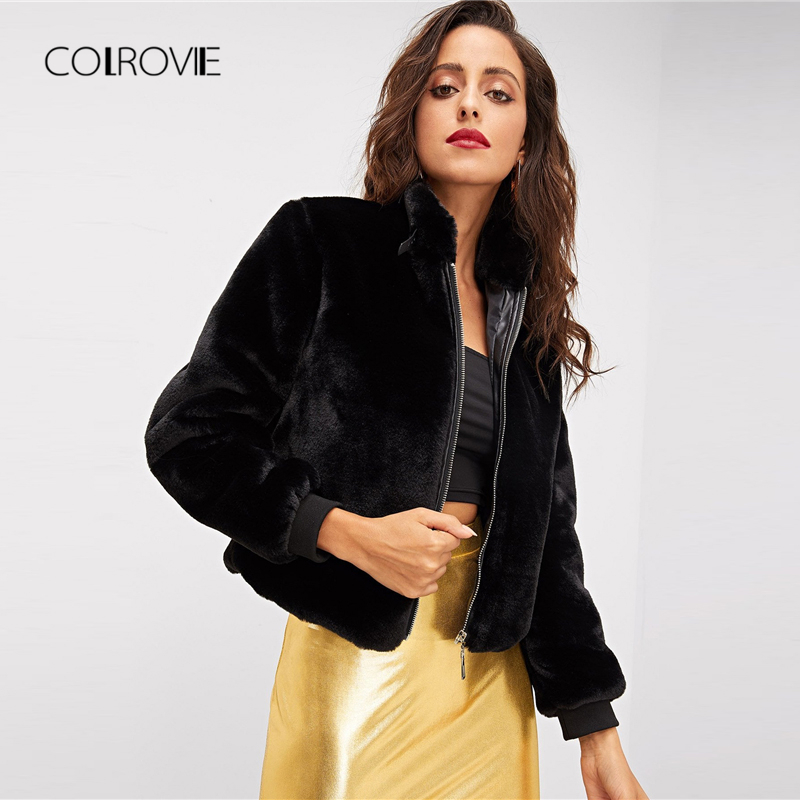 COLROVIE Black Solid Zipper Winter Faux Fur Jacket Coat Womens Clothing 2018 Autumn Fashion Office Elegant