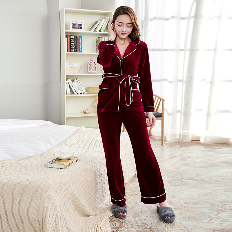 Velvet Pajama Set 2018 Spring Pleuche Pajamas for Women Sleepwear Two Piece Set Female Autumn Pajamas Noble Loungewear ...