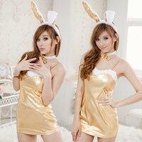 Venda quente pu leather lingerie erótica sexy menina de coelho coelho de ouro noite vestido de couro para as mulheres club wear strapless limitação