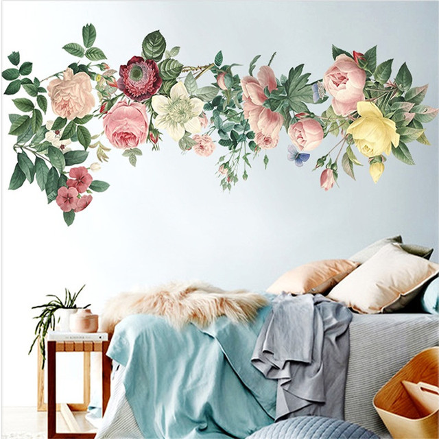 China Painting Style Wall Sticker Flower Birds Home Decor Living Room Bedroom Mural Art Wallpaper DIY Poster Chinese Pattern New