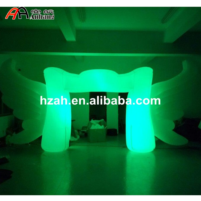 Stage Decoration Lighted Inflatable Arch with Wings funny summer inflatable water games inflatable bounce water slide with stairs and blowers
