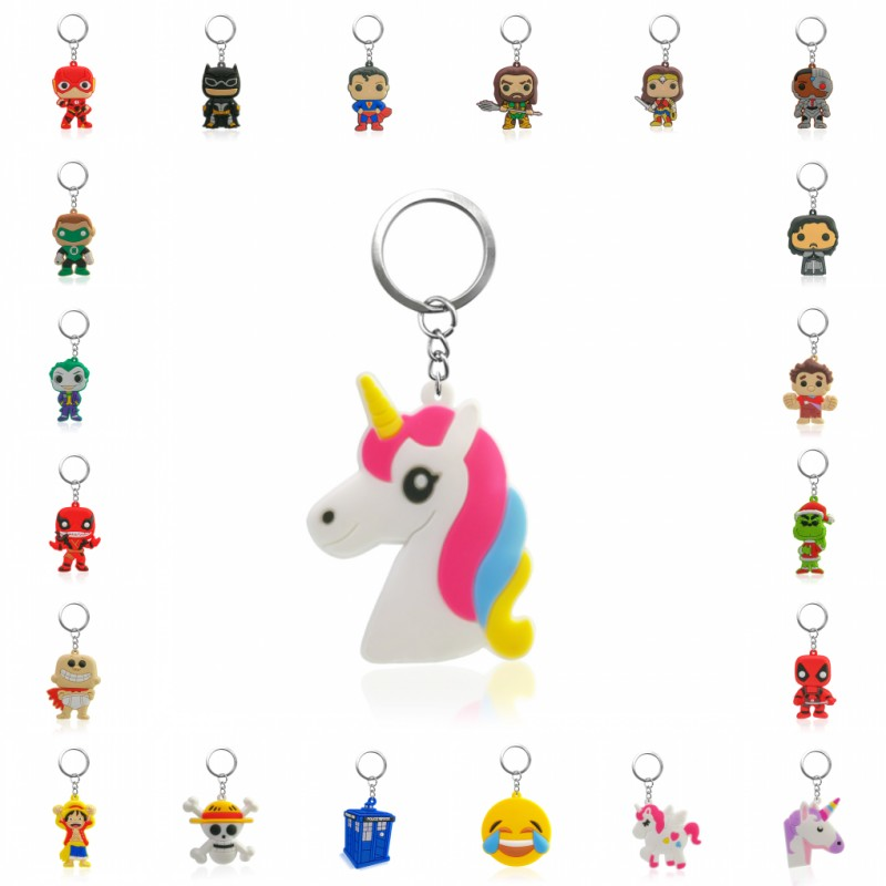 1PCS PVC Keychain Cartoon Mickey Avengers Unicorn Mini Anime Figure Key Ring Keychain Key Holder Fashion Charms Trinket