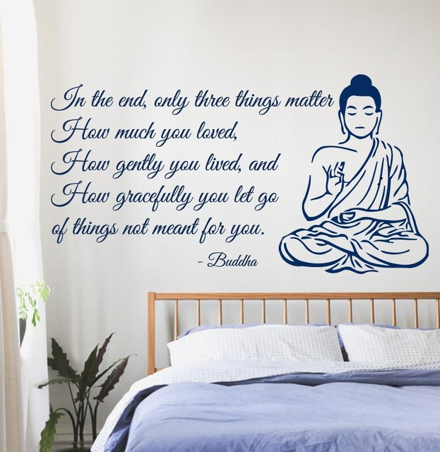 Buddha Vinyl Wall Decal Buddha Quote Yoga Gym Meditation Relaxation OM Zen  Mural Art Wall Sticker