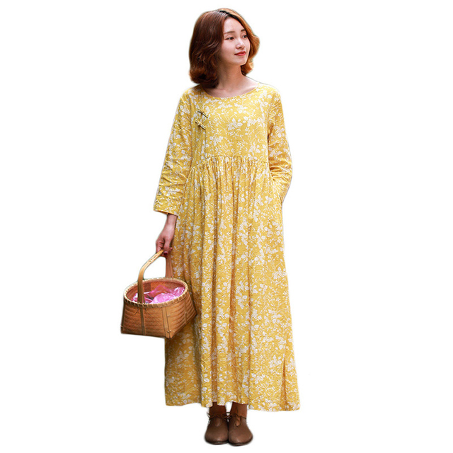 d76173356e33b6 Mori Girl Long Maxi Party Dresses Women Three Quarter Sleeve Cotton Linen  Casual Vestidos Floral Robe Femme Yellow Shirt Dress
