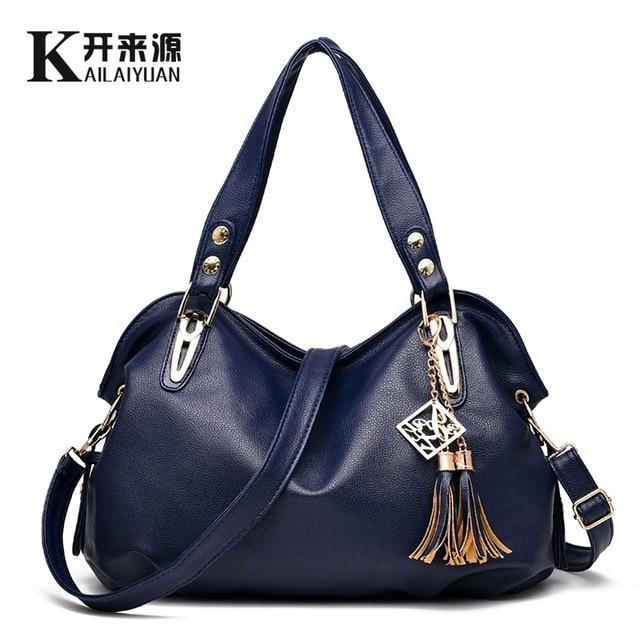 KLY 100% Genuine leather Women handbags 2018 New bag ladies classic casual  fashion bag Crossbody Bag female hand bill of lading 57896c331ad9