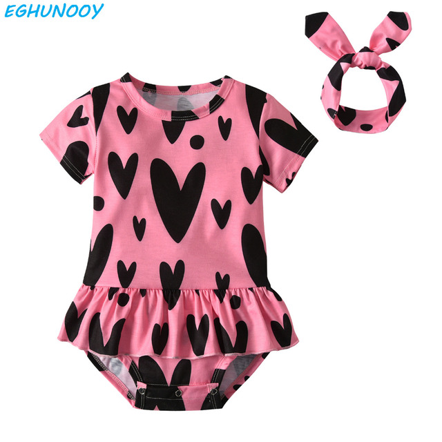 c973305cc1d1d Toddler Infant Baby Girl Clothing Short Sleeve Bodysuit Cute Cotton Jumpsuit  Headband Newborn Clothes Baby Girls Outfits