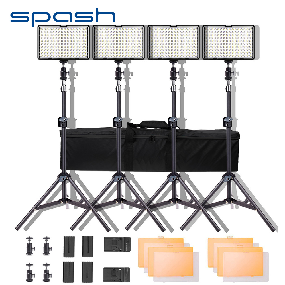 spash TL 160S LED Video Light Kit Photography Lighting with Stand NP F550 Battery Dimmable 3200K/5600K 160 LED Studio Lamp-in Photographic Lighting from Consumer Electronics