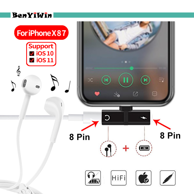 3 in 1 Audio Charging Adapter For iPhone X 7 8 Plus Charger Cable Adapter For Charging Jack to Earphone AUX Converter Cable