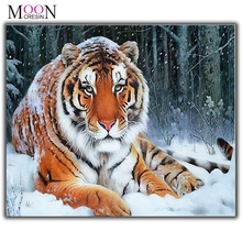 MOONCRESIN 5D Diamond Painting Cross Stitch Tiger Lies In The Snow Diy Embroidery Full Square Mosaic Round Drill