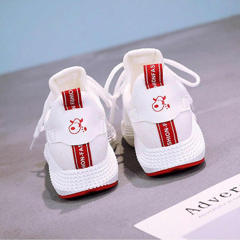 אופנה חדשה לבן סניקרס לנשימה נשים מגופר נעלי שמנמן סניקרס מקרית שטוח גבירותיי נעלי רשת תחרה עד נעלי ספורט