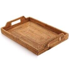 Ротанговая плетеная корзина для хранения фруктов конфеты закуски тарелка столовые приборы лоток с завтраком кровать бар ужин прямоугольный 14,5X10,2 дюймовый