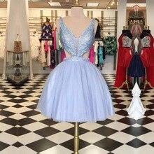 Echt Fotos Kurz Lavendel Heimkehr Kleider Tiefem V-ausschnitt Pailletten Tüll Homecoming Kleid Cocktailkleider Günstige Kleid HC47