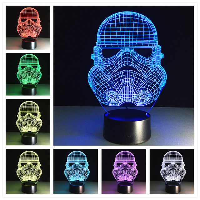 Usb Führte 3d Lampe Star Wars Lampe 3D Visuelle Led Nachtlichter Für Kinder  Roboter Power Bank